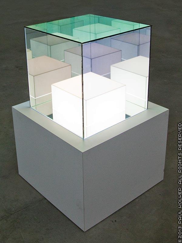Paul Kolker hypercube forever, 2013 - Copyright 2013 Paul Kolker. All Rights Reserved. Contemporary art light sculpture close up